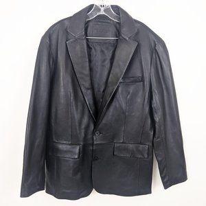 Roundtree & Yorke Leather Blazer Jacket L Mens